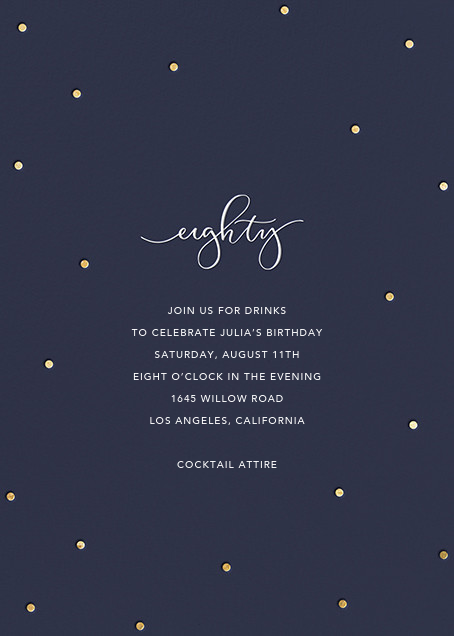 Milestone Dots (Eighty) - Navy - Sugar Paper - Adult birthday