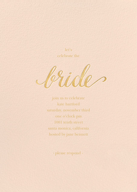 Classic Bride - Pink/Gold - Sugar Paper - Bridal shower
