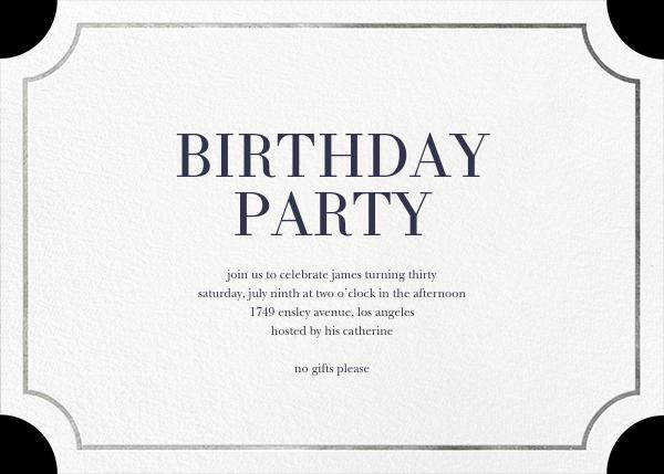 Roosevelt (Horizontal) - Silver - Sugar Paper - Adult birthday
