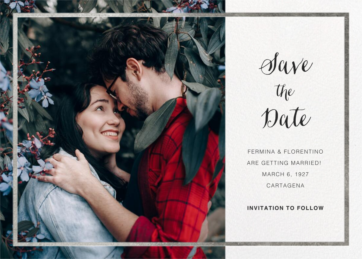 Idylle (Photo Save the Date) - White/Silver - Paperless Post - Photo