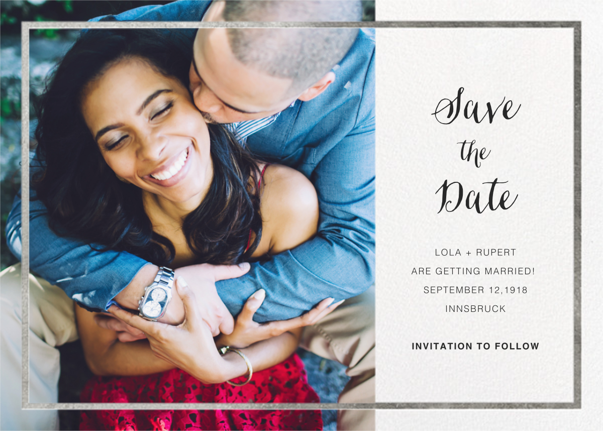 Idylle (Photo Save the Date) - White/Silver - Paperless Post - Classic