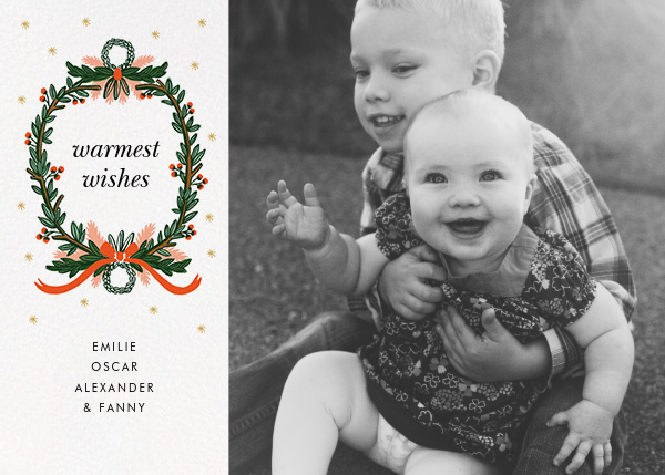 Midnight Wreath (Square Photo) - White - Rifle Paper Co. - Holiday cards