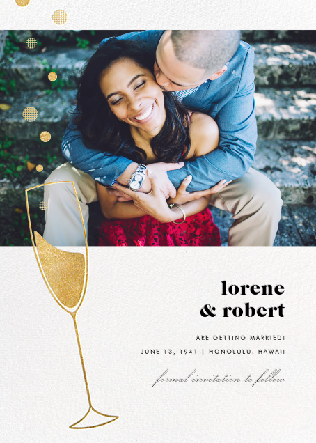 Champagne Bubbles (Photo) - Gold - Paperless Post - Photo