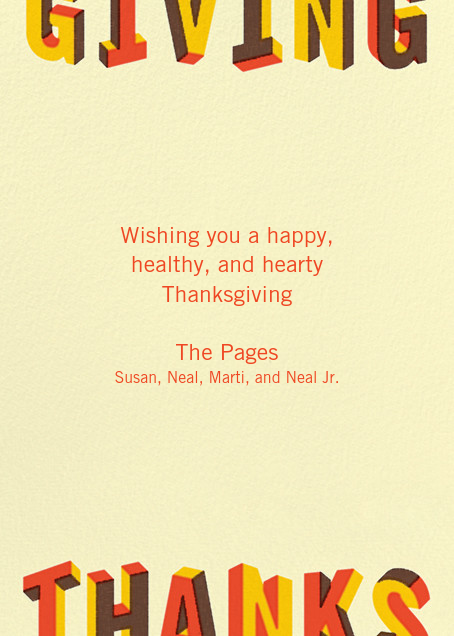 Letters of Thanks (Greeting) - Paperless Post - Thanksgiving - card back