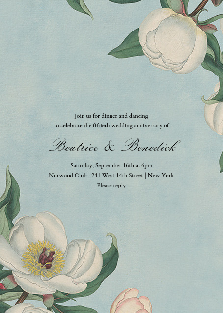 White Peony (Invitation) - John Derian - Anniversary party