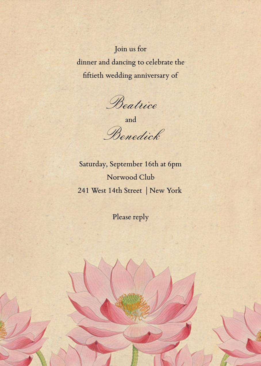 Water Lily (Invitation) - John Derian - Anniversary party