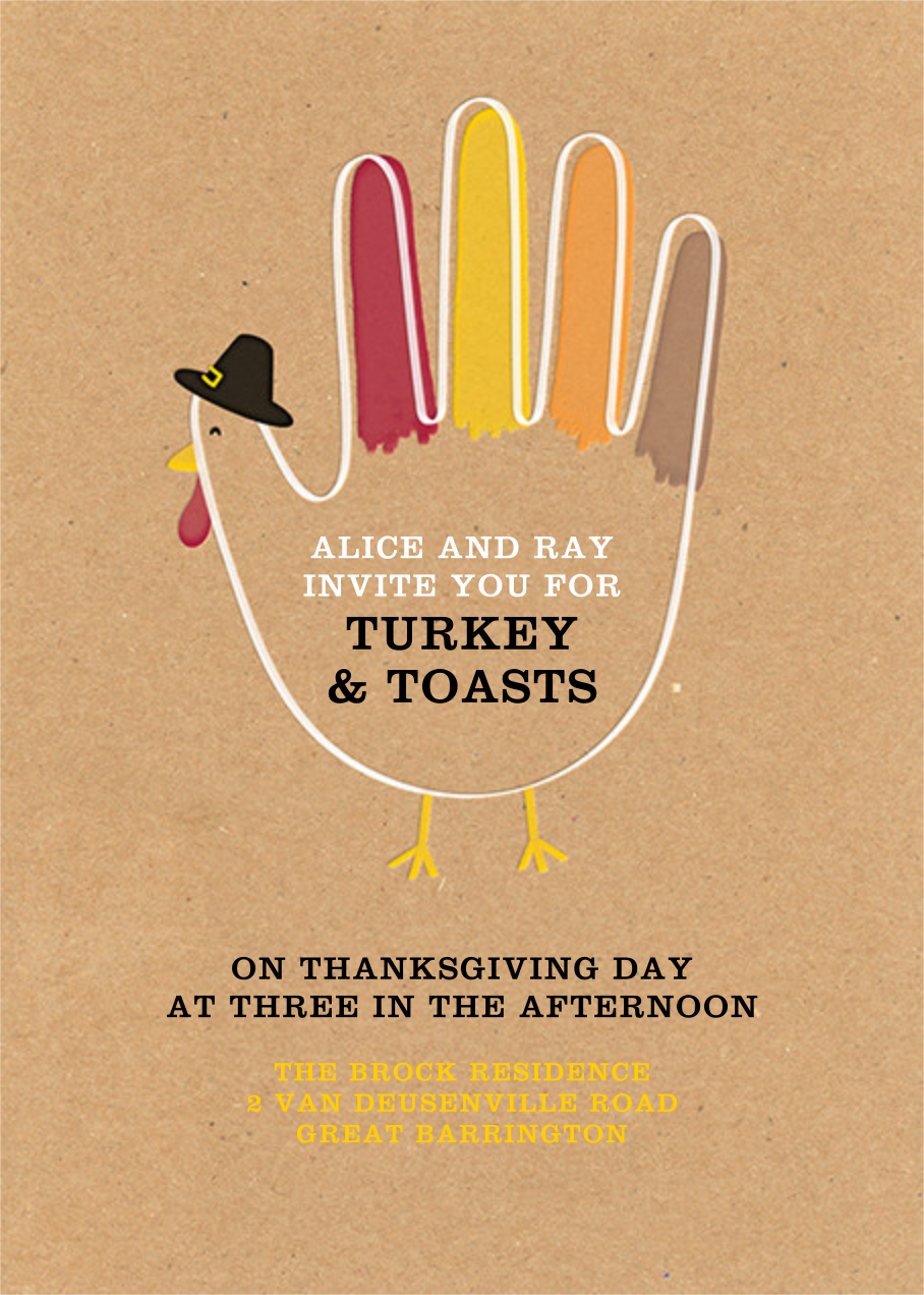 Hand Turkey (Invitation) - Paperless Post - Thanksgiving
