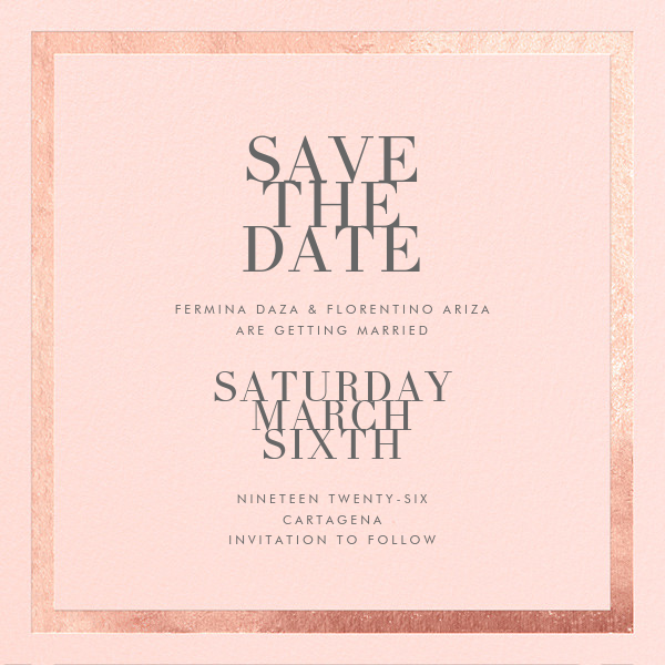 Editorial II (Save the Date) - Meringue/Rose Gold - Paperless Post - Save the date