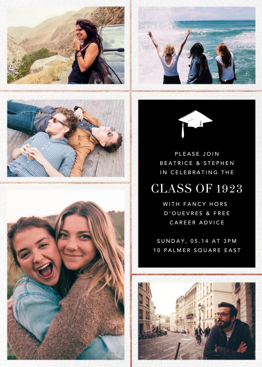 Quint - Black/Rose Gold - Paperless Post - Graduation party