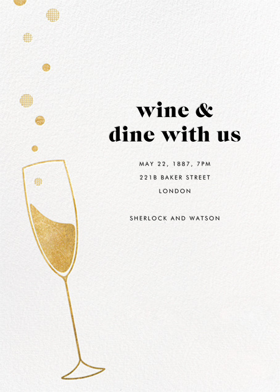 Champagne Bubbles - Paperless Post - Winter entertaining
