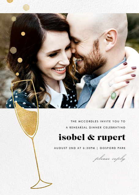 Champagne Bubbles (Photo) - Gold - Paperless Post - Engagement party