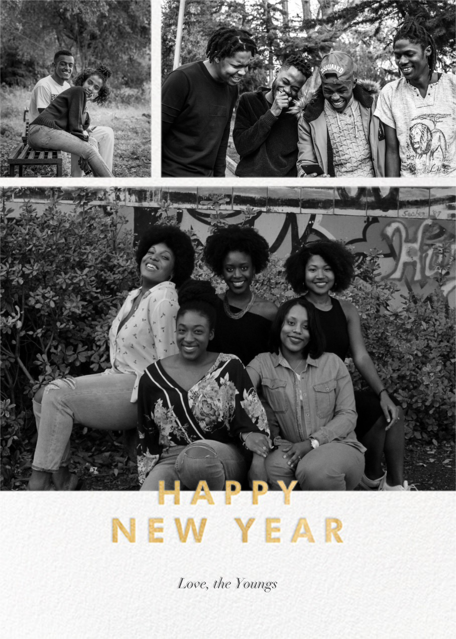 New Year Cutouts (Tall Multi-Photo) - Gold - Paperless Post