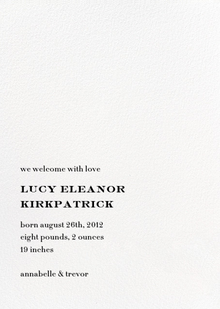 Type Story - kate spade new york - Birth - card back