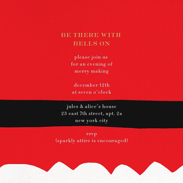 Ho Ho Ho Santa Belt (Invitation) - kate spade new york - Christmas party - card back