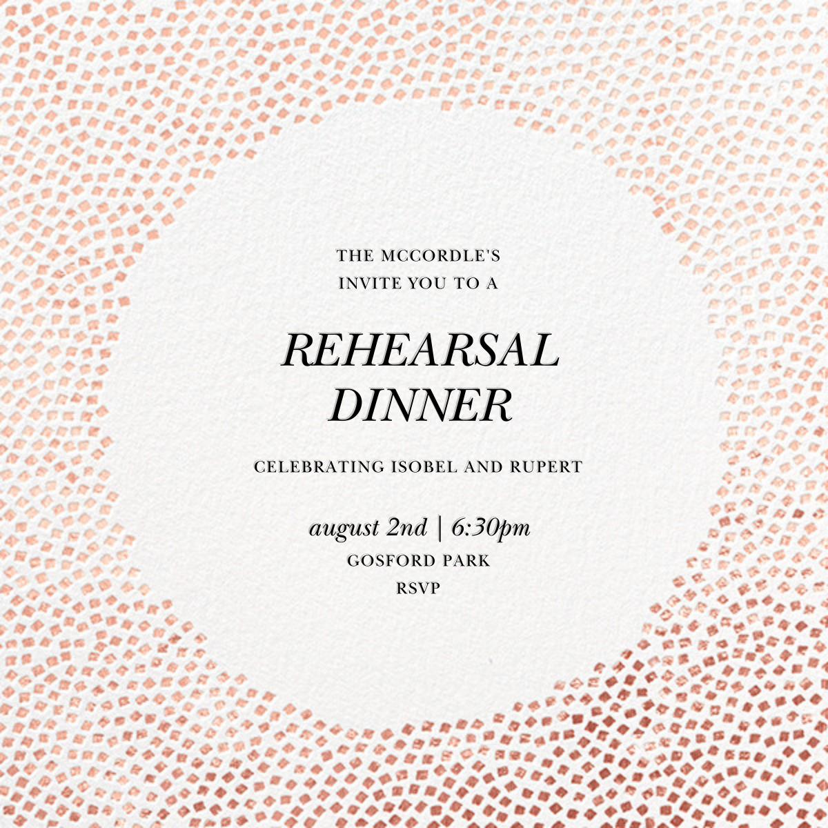 Konfetti - Rose Gold - Kelly Wearstler - Rehearsal dinner