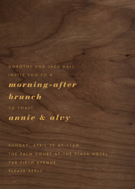 Wood Grain Dark - Tall - Paperless Post - Rehearsal dinner
