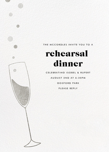 Champagne Bubbles - Silver - Paperless Post - Engagement party