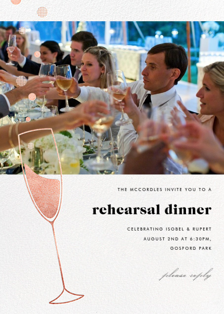 Champagne Bubbles (Photo) - Rose Gold - Paperless Post - Rehearsal dinner
