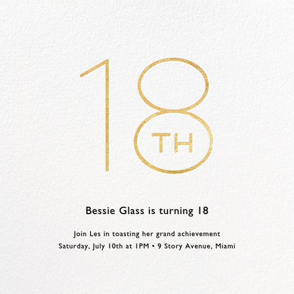Decade (Eighteen) - Gold - Paperless Post - Milestone