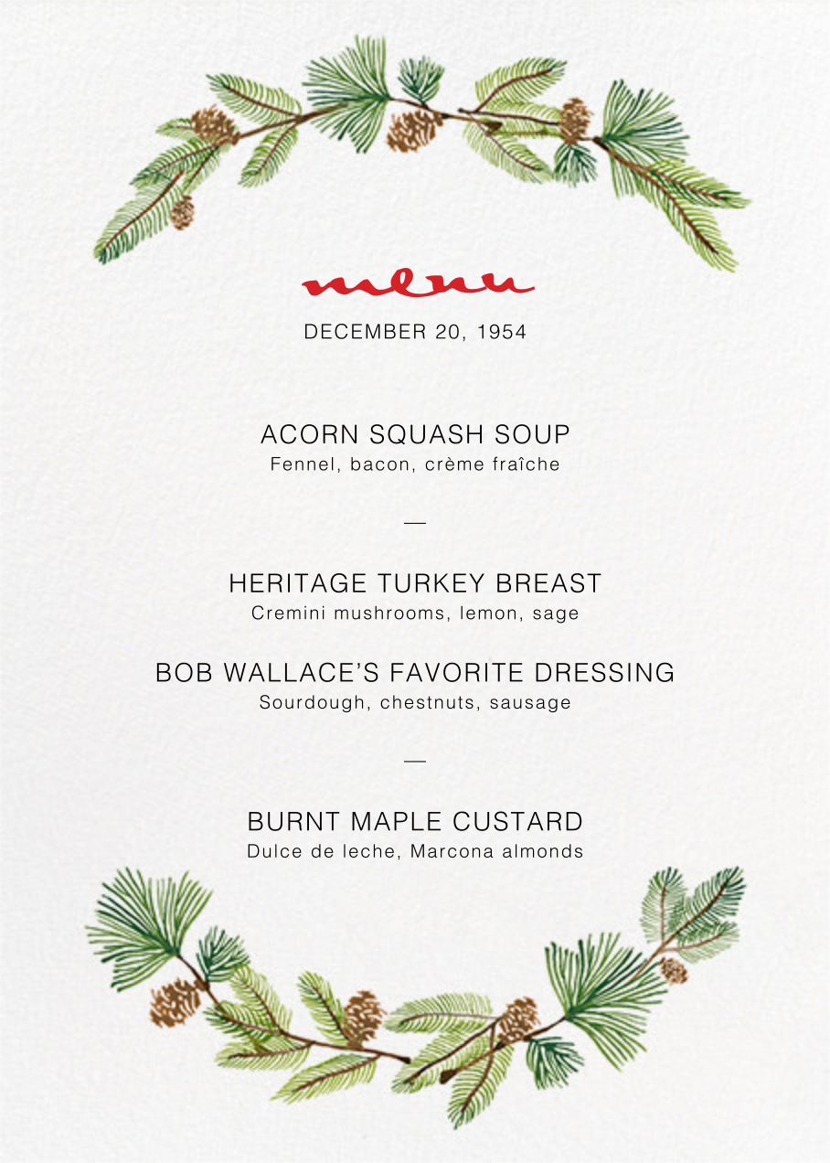 Delicate Firs (Menu) - Paperless Post - Holiday Party