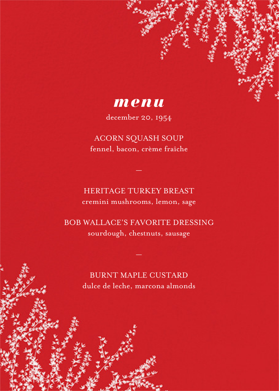 Forsythia (Menu) - Red - Paperless Post - Holiday Party
