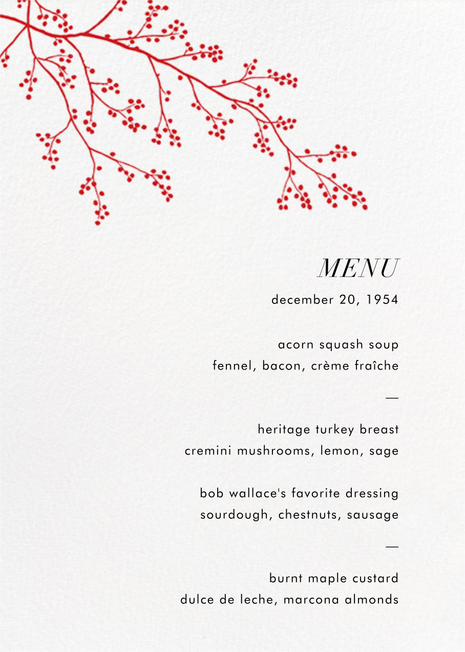 Winter Berries (Menu) - Paperless Post - Holiday Party
