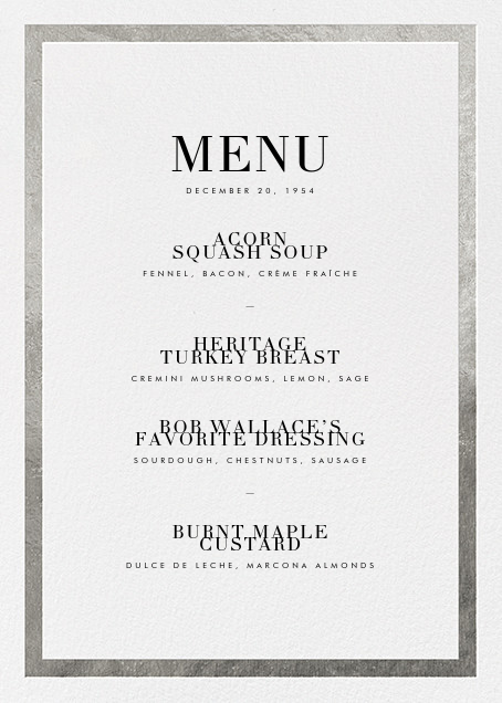 Editorial II (Menu) - Silver - Paperless Post - Holiday Party