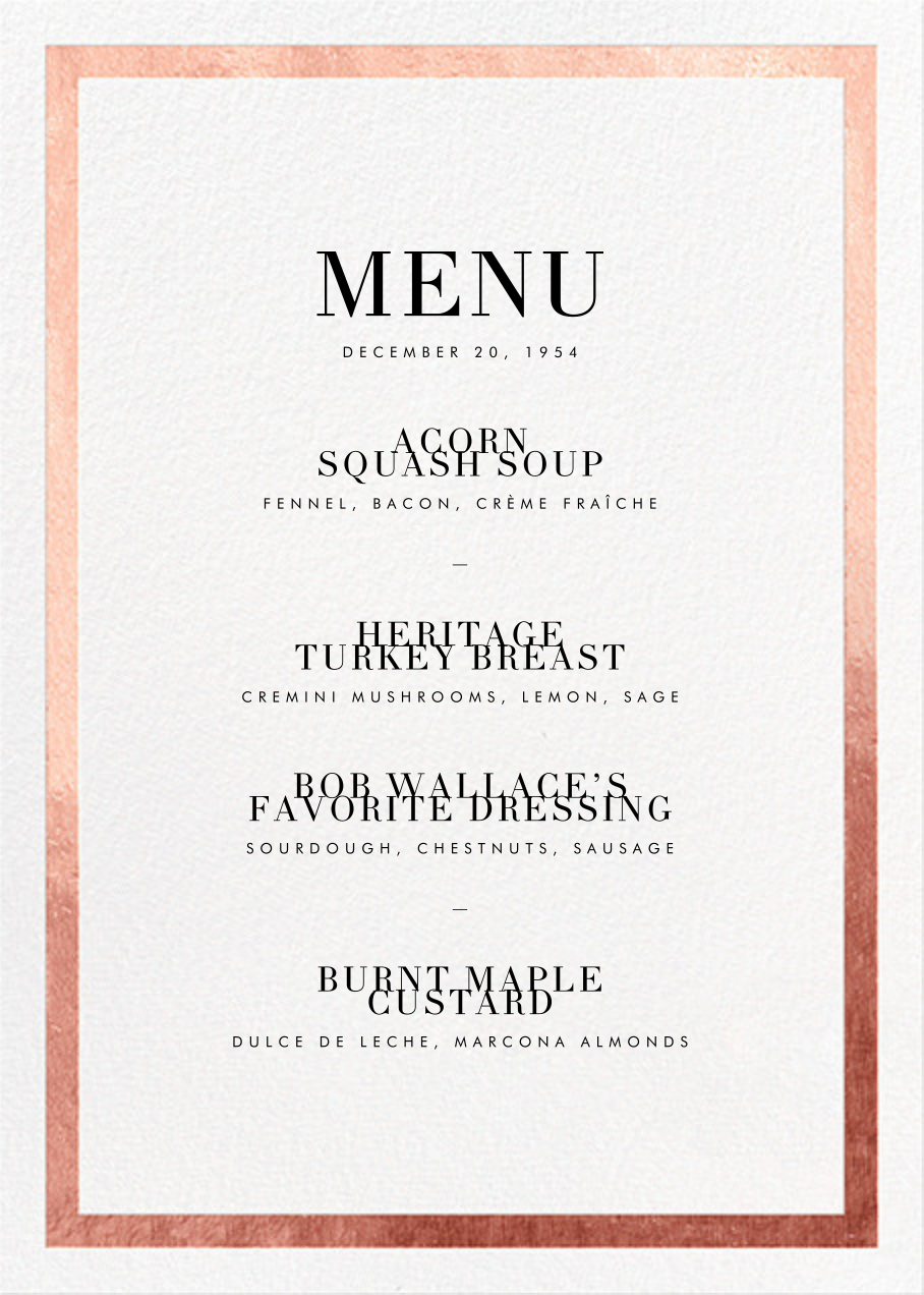 Editorial II (Menu) - Rose Gold - Paperless Post - Holiday Party