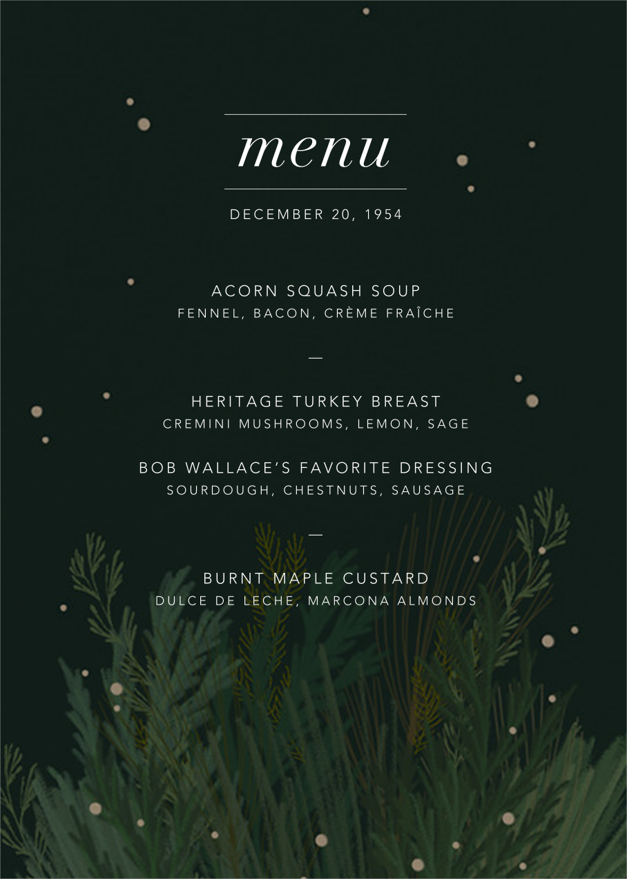 Wild Winter Bouquet (Menu) - Paperless Post - Holiday Party