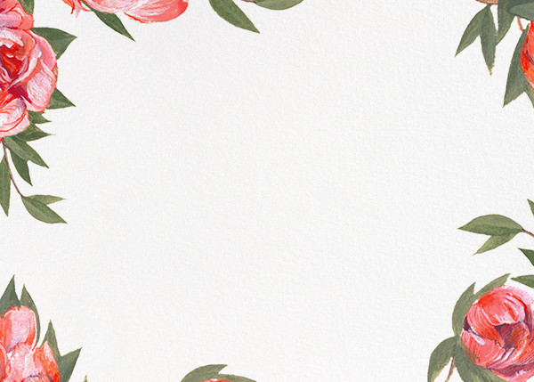 Red Peony Border - Paperless Post - Notecards
