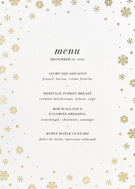 White Out (Menu) - Gold - Paperless Post - Holiday Party