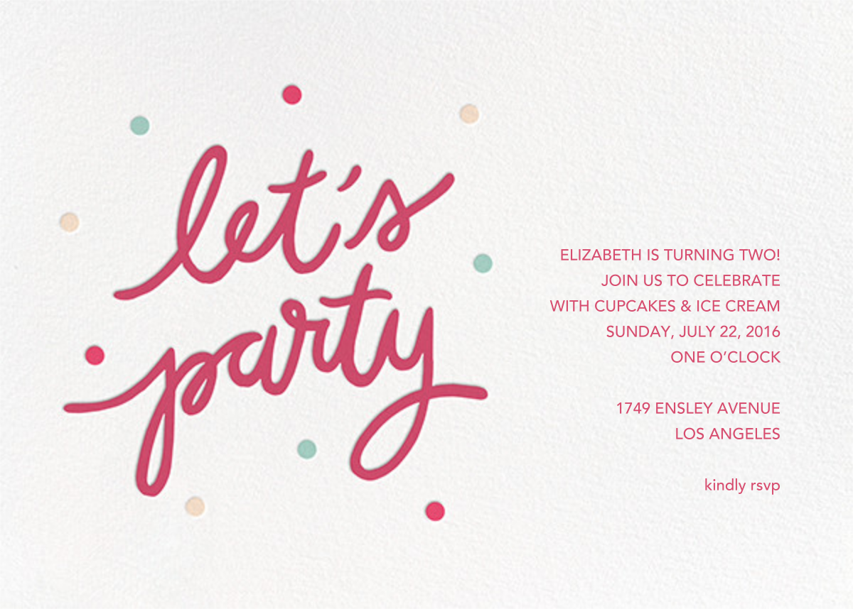 Party Script (Horizontal) - Rhubarb - Sugar Paper - Kids' birthday