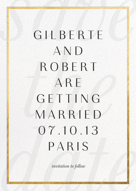 Imprint - White/Gold - Paperless Post - Save the date