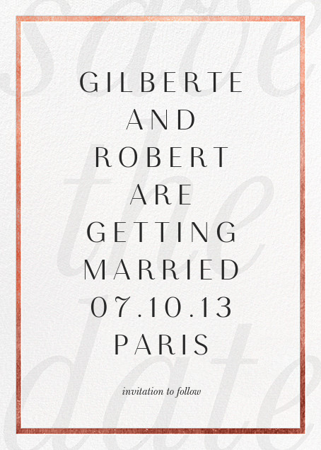 Imprint - White/Rose Gold - Paperless Post - Save the date