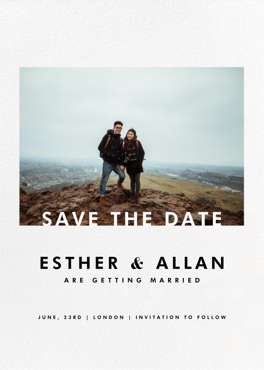 Horizontal Photo On Tall Save The Date Online At Paperless Post