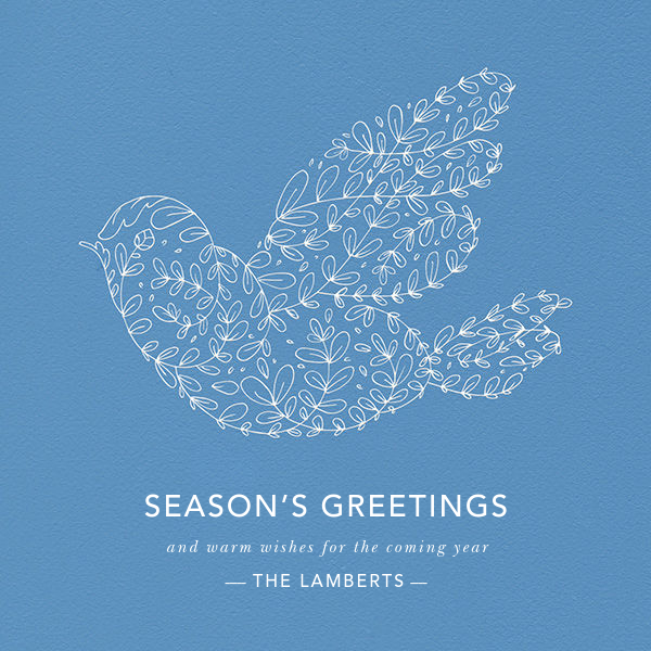 Vine Dove - Blue - Paperless Post - Holiday cards