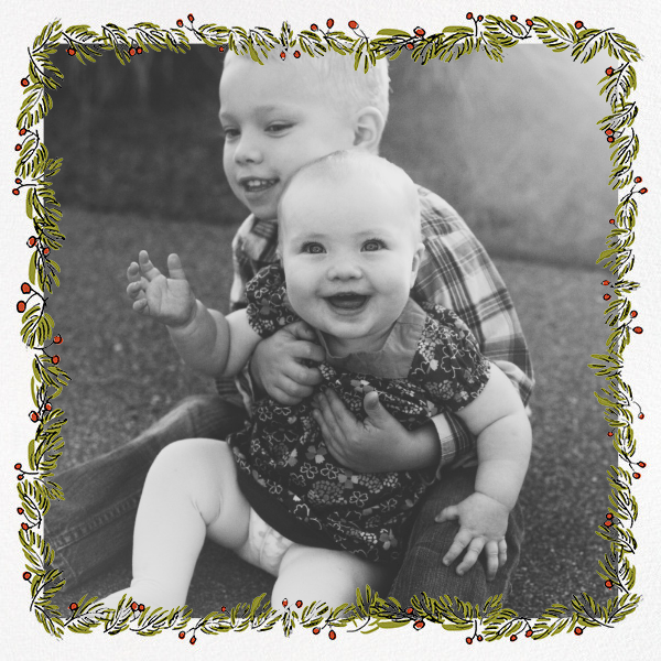 Fir Frame (Square) - Paperless Post - Holiday cards