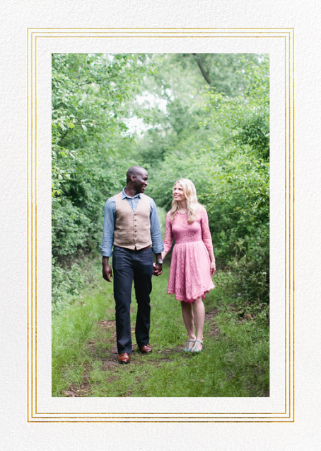 Triple Interior Border (Tall Photo) - Gold - Paperless Post - Party save the dates