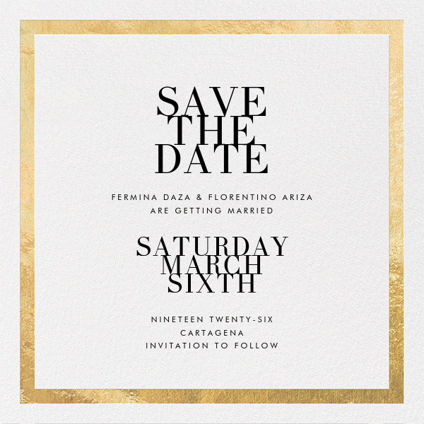 Editorial II (Save the Date) - White/Gold - Paperless Post - Party save the dates