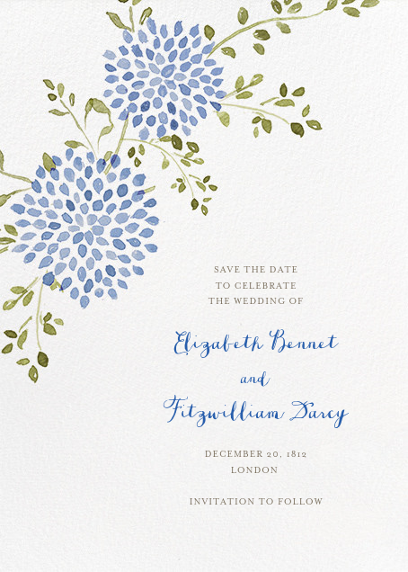 Dahlias (Tall Save the Date) - Blue - Paperless Post - Save the date