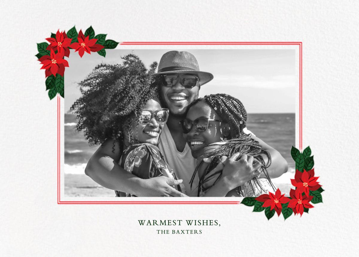 Poinsettia Flourish (Horizontal) - Paperless Post - Holiday cards