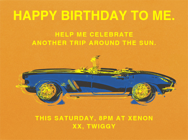Top Down Chrome Spinning - Paperless Post - Adult birthday