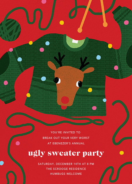Red-Nosed Knitter - Paperless Post - Christmas party