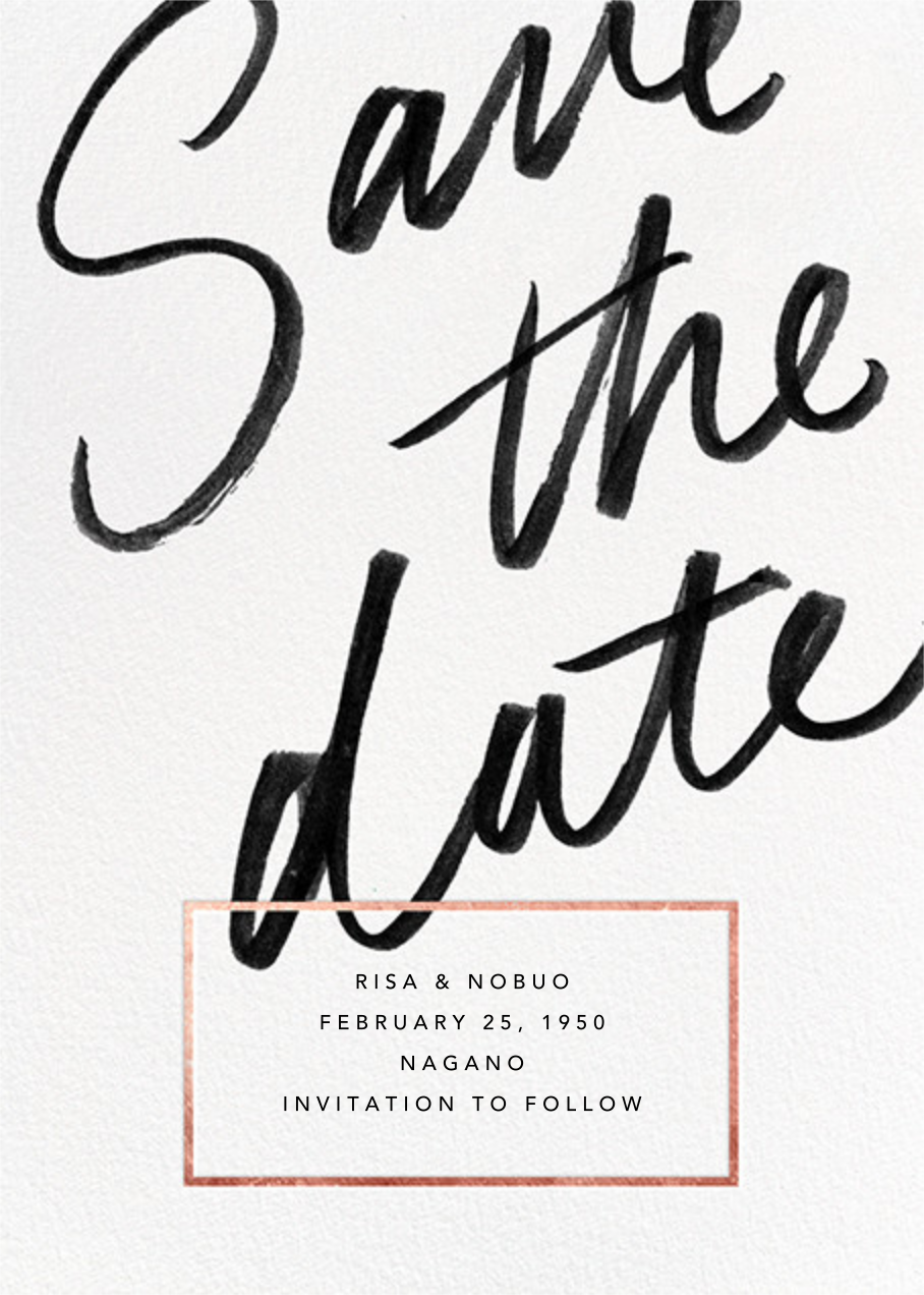 Deighton - Rose Gold - Paperless Post - Party save the dates