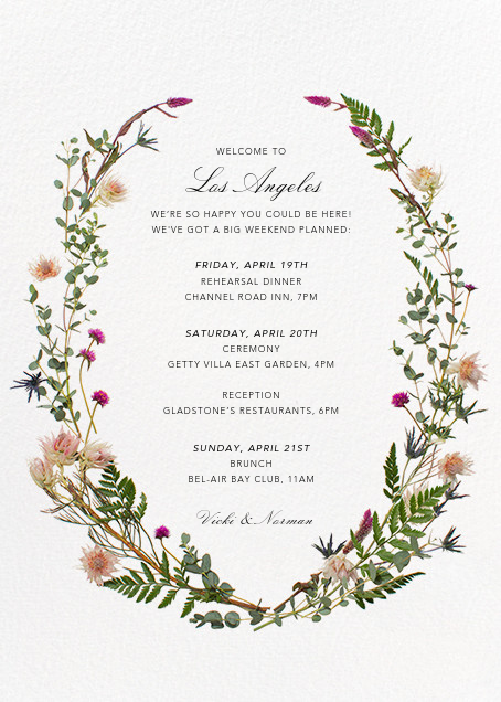 Fleurs Sauvages (Welcome Letter) - Paperless Post - Welcome letters