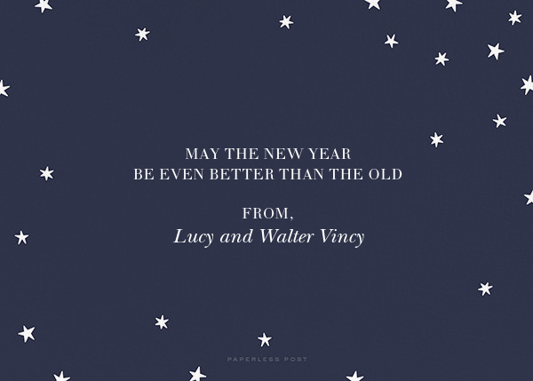Nightly (Photo) - Navy/Gold - Paperless Post - New Year - card back