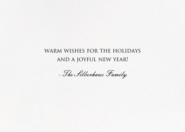 Peace on Earth Script (Photo) - Black - Bernard Maisner - Holiday cards - card back