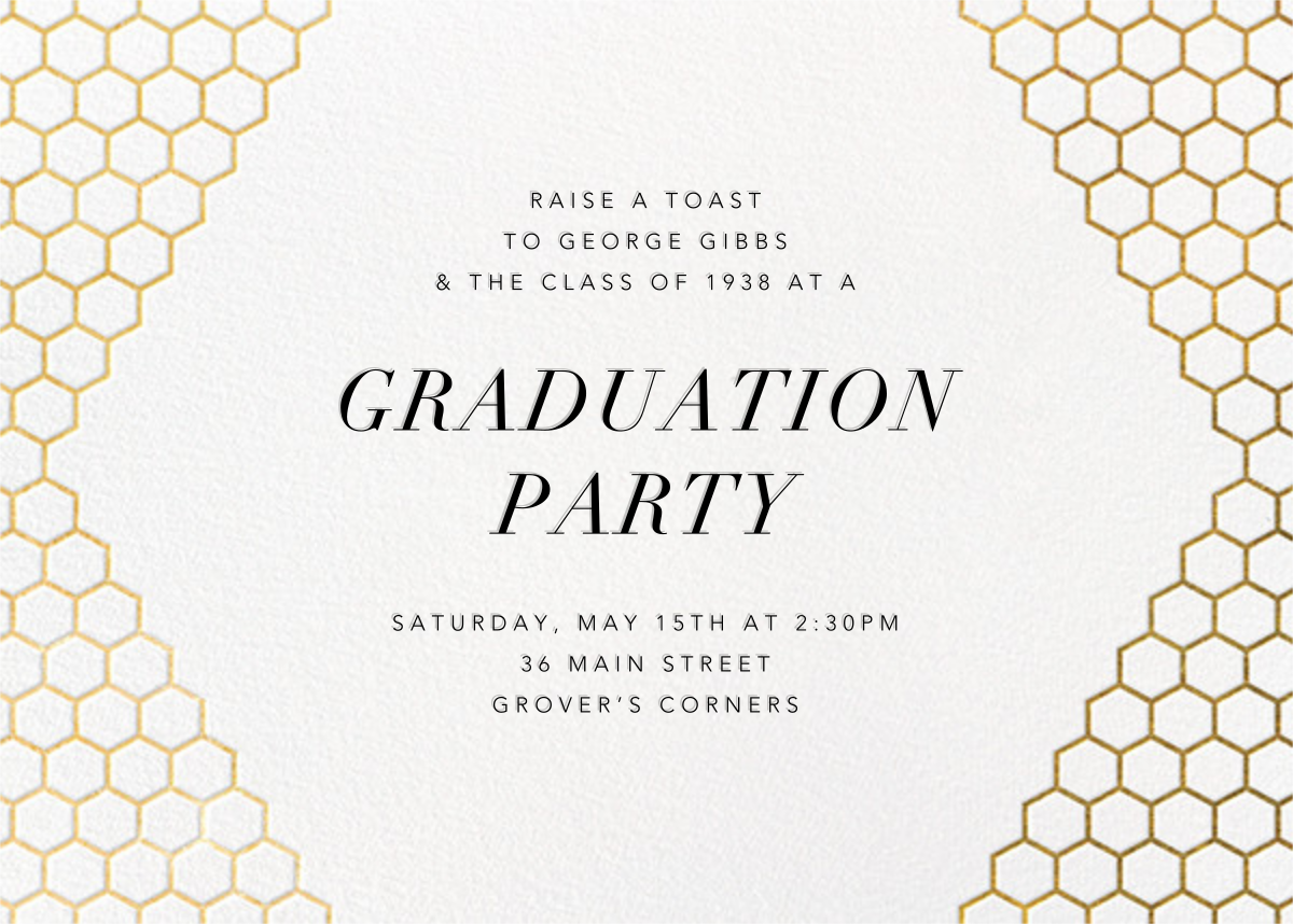 Honeycomb Party - Gold - Paperless Post - Graduation party