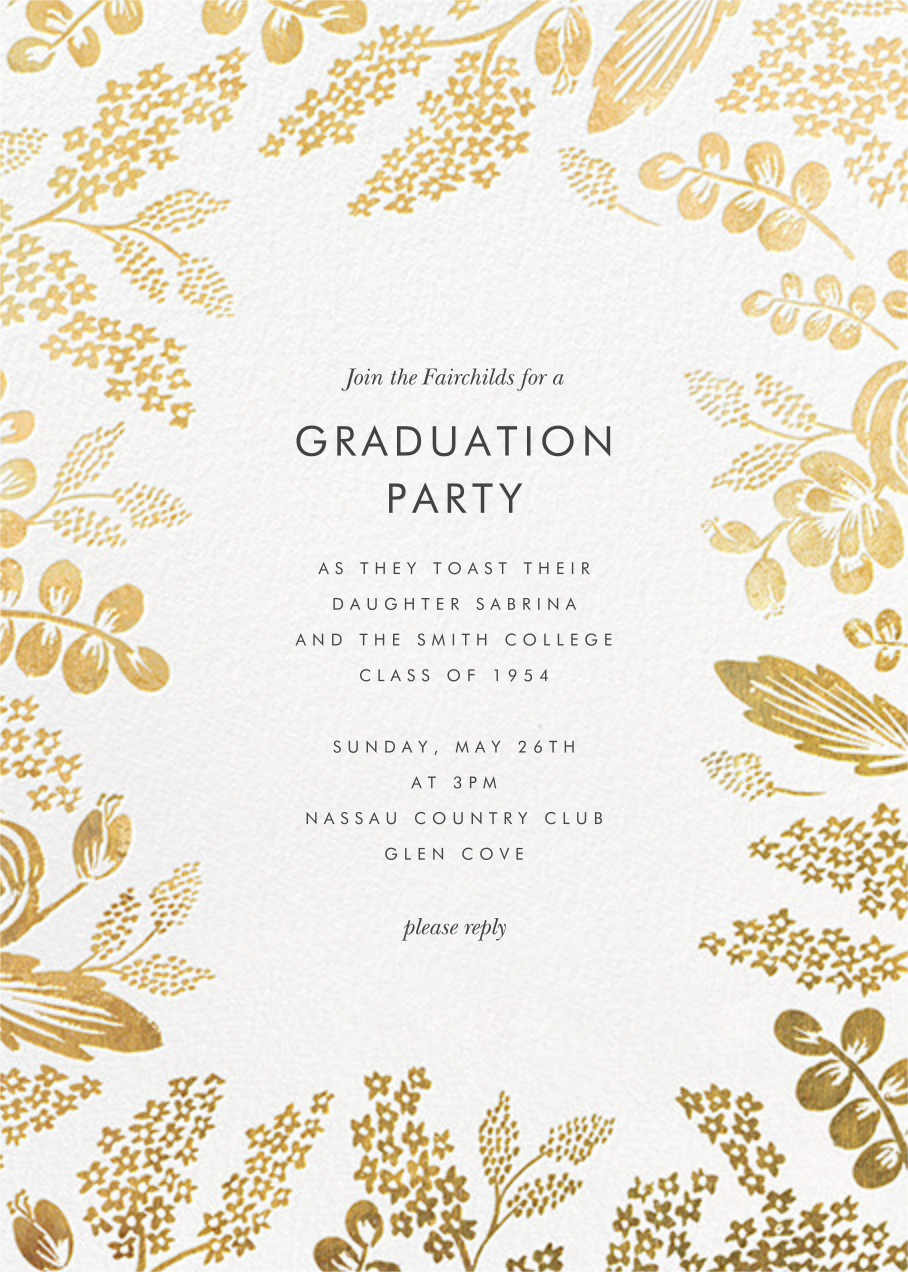 Heather and Lace - Gold - Rifle Paper Co. - Graduation party