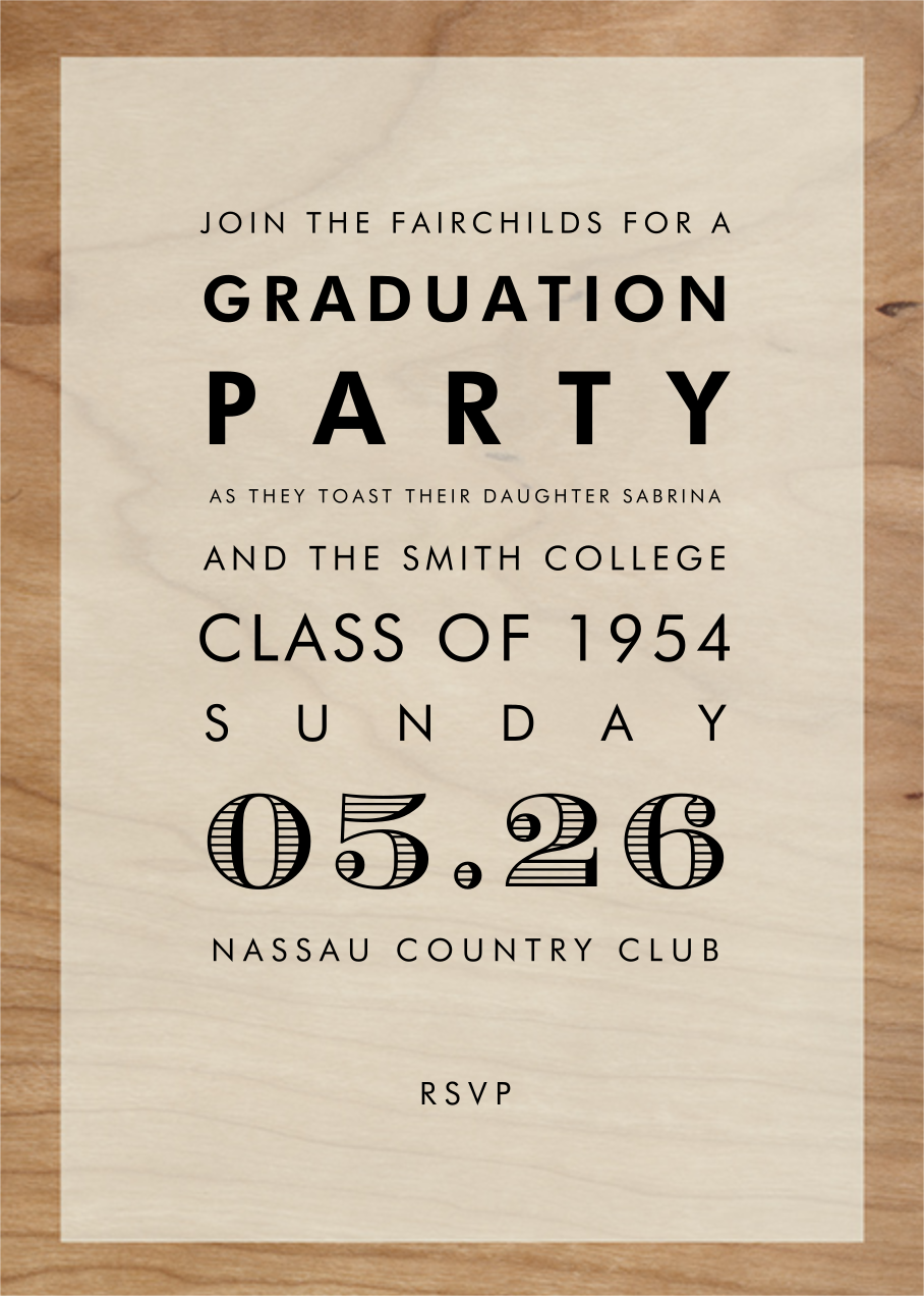Wood Grain Color Block - White - Paperless Post - Graduation party